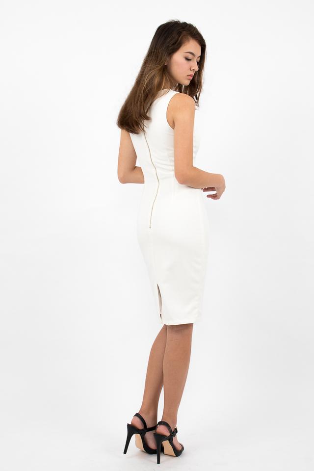 Devon Valley Neck Zipper Midi Dress - White