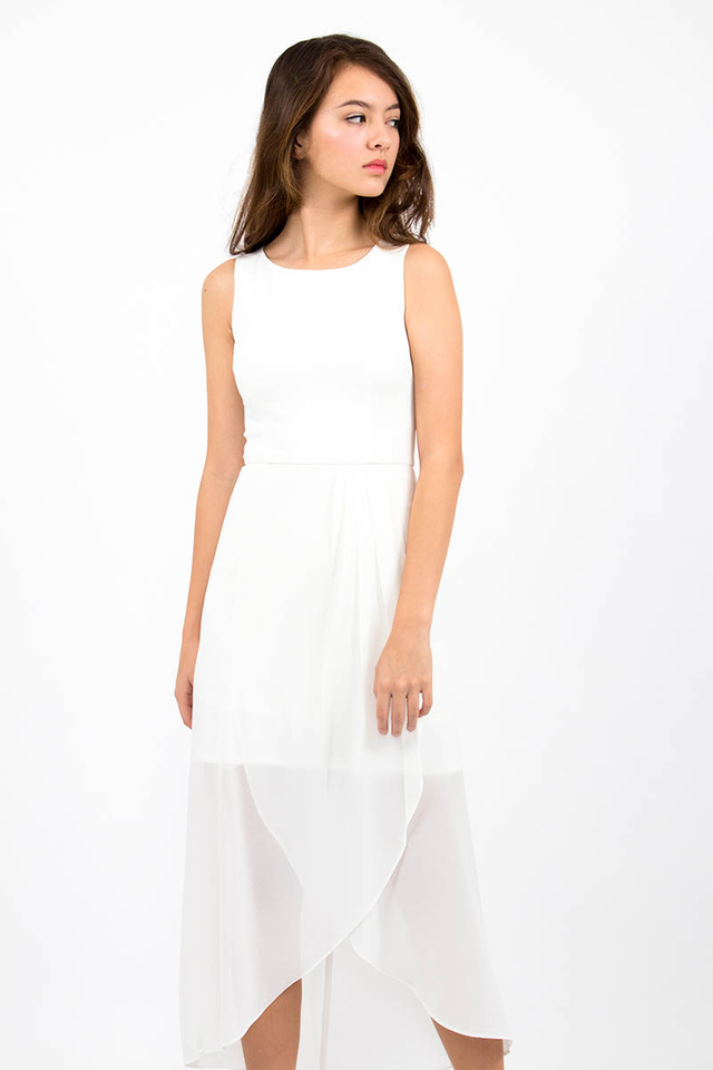 Giselle Chiffon Overlap Midi Dress - White