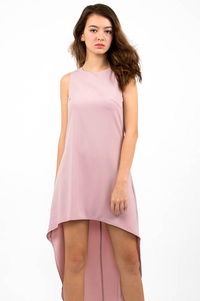Miuccia Assymmetrical Runway Dress - Dusty Pink