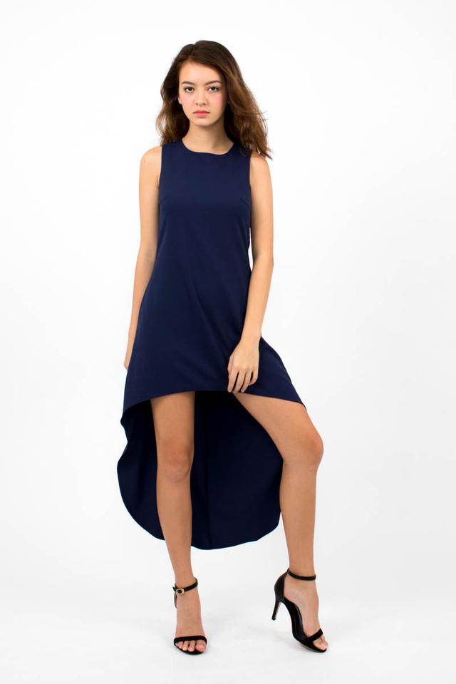 Miuccia Assymmetrical Runway Dress - Navy Blue