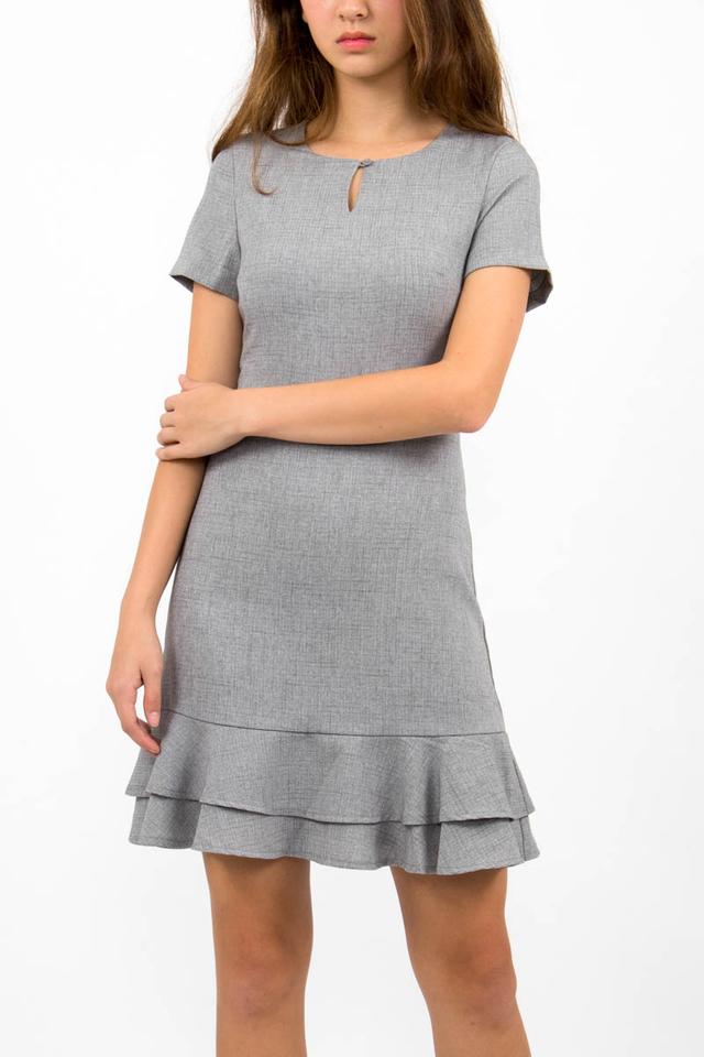 Sienna Flounce Windowpane Dress - Light Grey