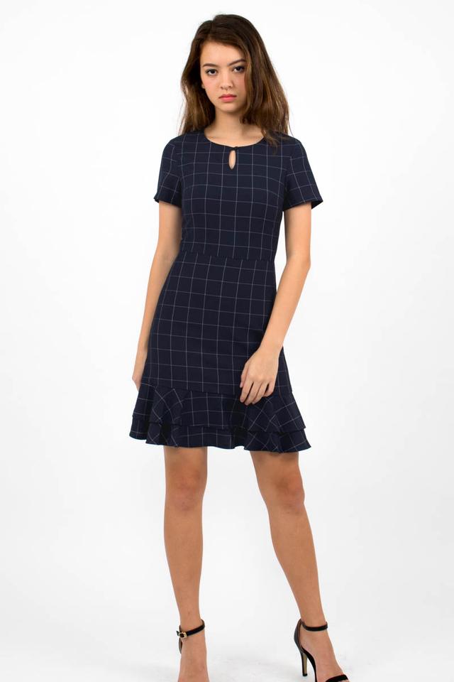 Sienna Flounce Windowpane Dress - Navy Checks