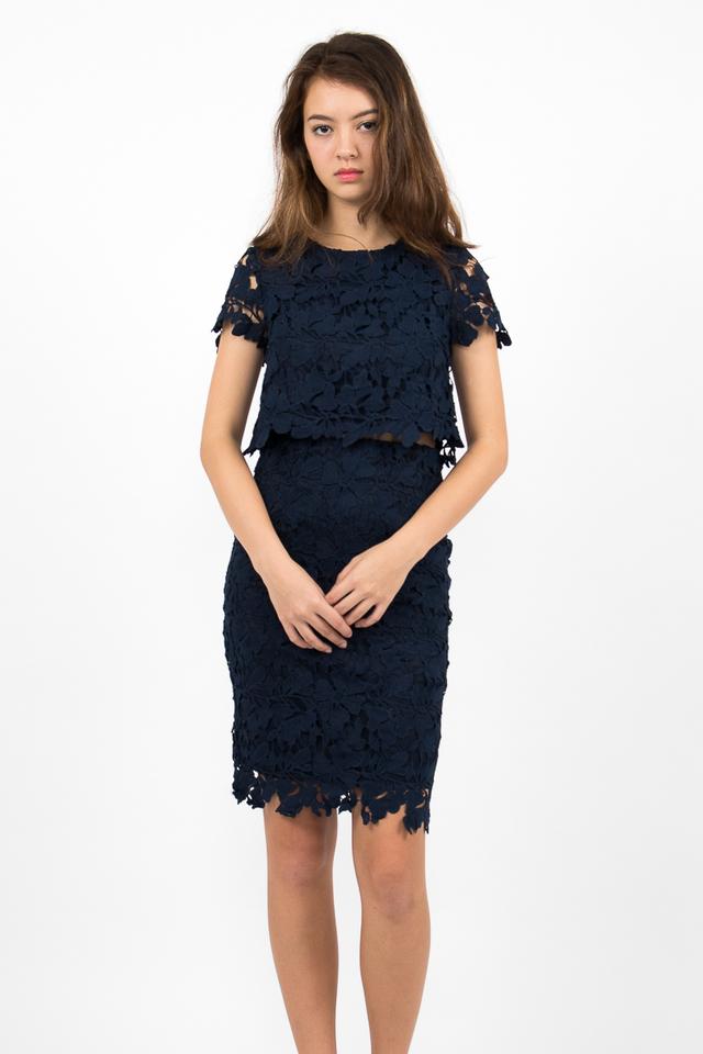 Lara Crochet Midi Pencil Skirt - Navy Blue