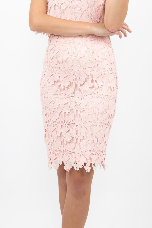 Lara Crochet Midi Pencil Skirt - Blush Pink
