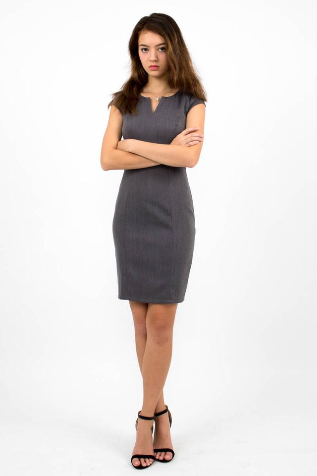 Zoë Top Notch Cap Sleeve Pencil Dress - Grey