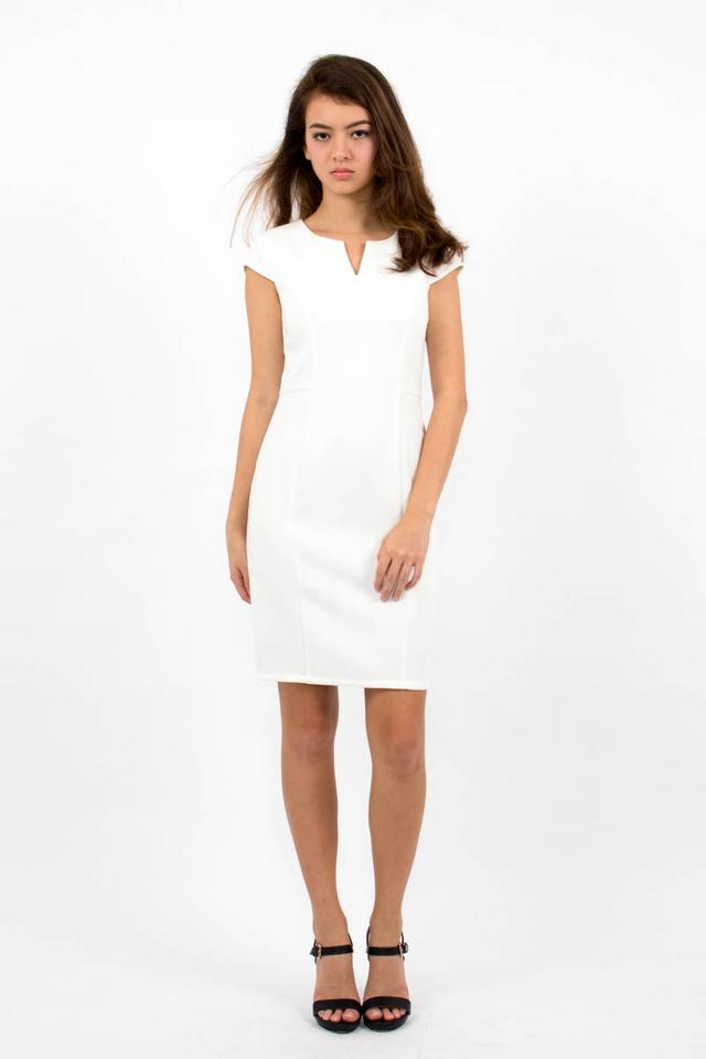 Zoë Top Notch Cap Sleeve Pencil Dress - White