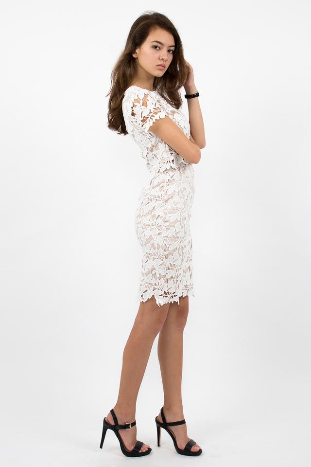Lara Crochet Midi Pencil Skirt - White
