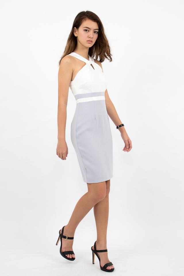 Stefano Twist Neck Pencil Dress - White/Lilac Grey