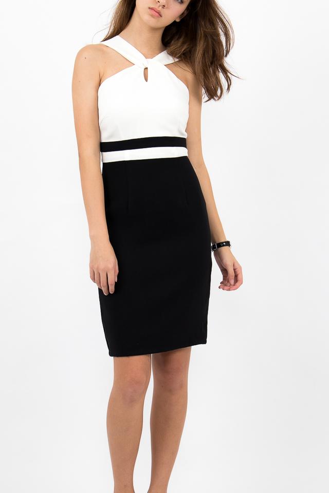 Stefano Twist Neck Pencil Dress - White/Black