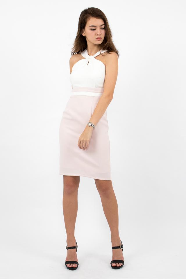 Stefano Twist Neck Pencil Dress - White/Blush Pink