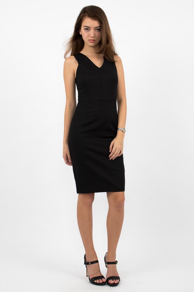 Devon Valley Neck Zipper Midi Dress - Black