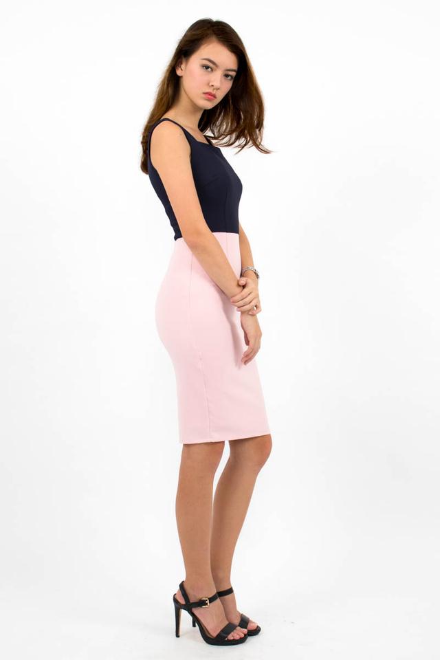 Constance Colour Block Dress - Navy Blue/Pink