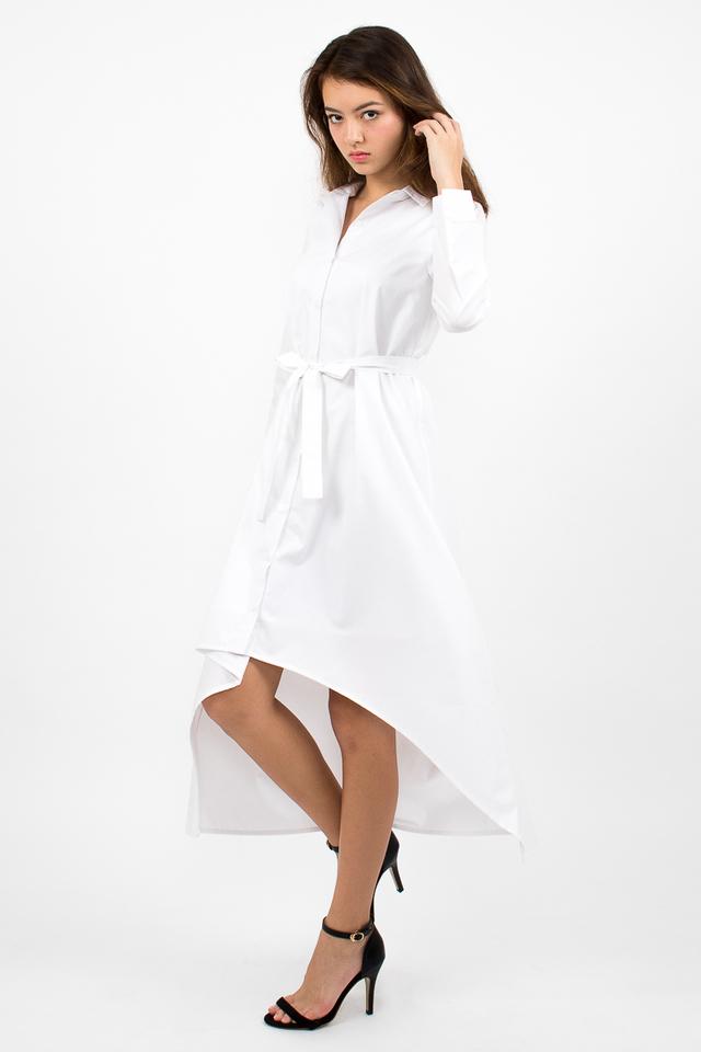 Esmeralda High-Lo Shirt Dress - White