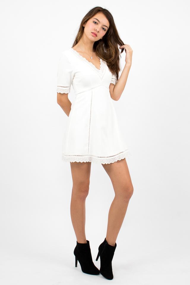 Bianca Boho A-Line Dress - White