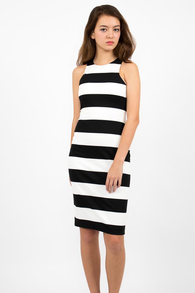 Lachlan Racerback Stripe Zipper Dress - White/Black