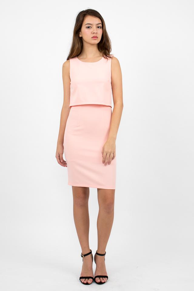 Tilda Crop Layered Dress - Pink