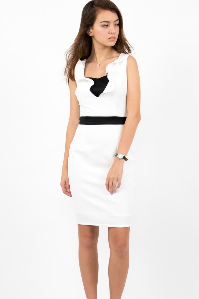 Fabiola Bustier Bandeau Dress - White