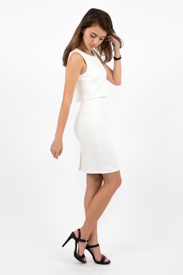 Tilda Crop Layered Dress - White