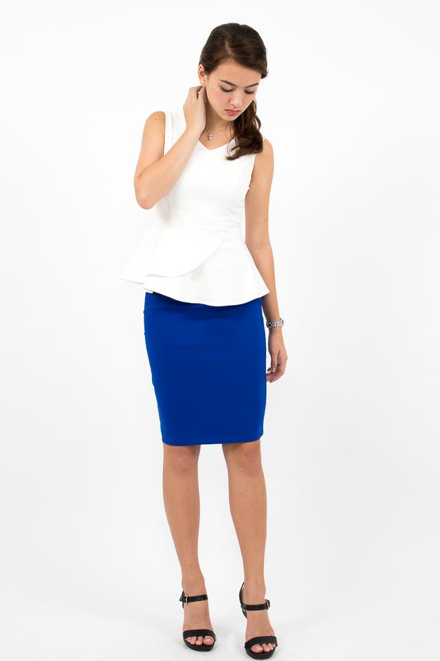 Céline High Waisted Pencil Skirt - Electric Blue