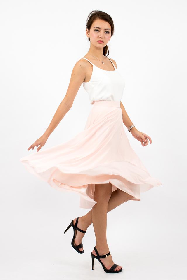 Dree Full Swing Chiffon Midi Skirt - Blush Pink