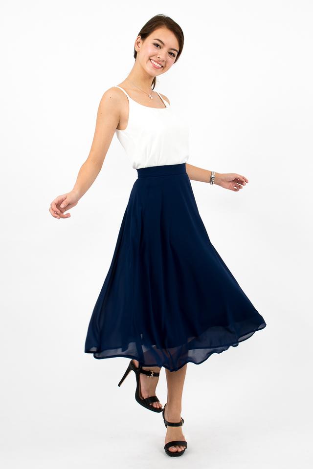 Dree Full Swing Chiffon Midi Skirt - Navy