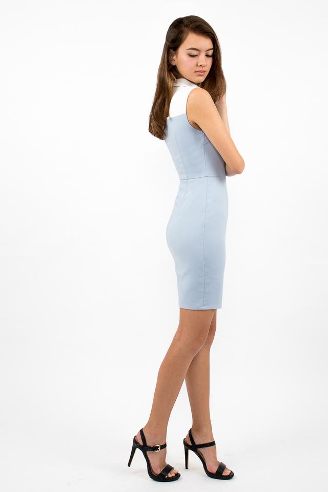 Ambrosio Sweetheart Collar Dress - Sky Blue
