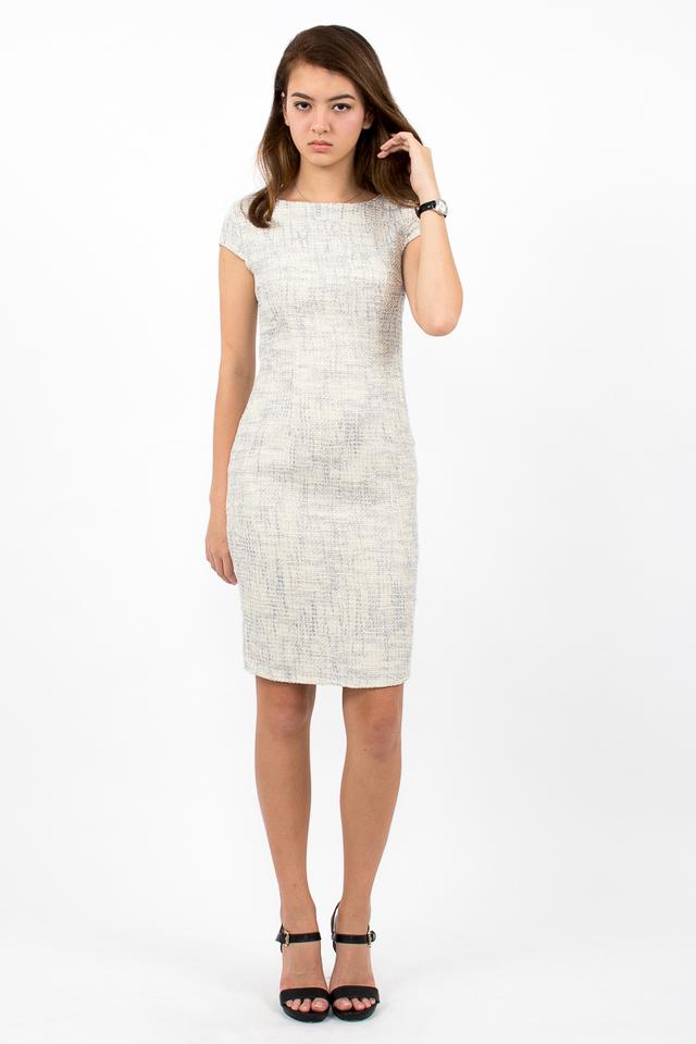 Marlowes Tweed Midi Dress - Cream/Grey
