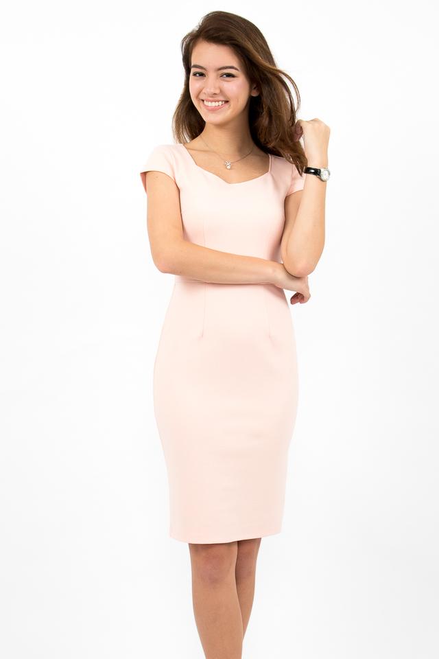 Maurizio Cap Sleeve Midi Dress - Blush Pink