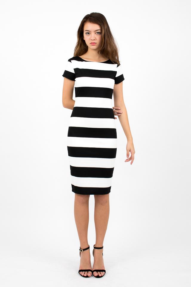 Malgosia Scoop Back Stripe Dress - White/Black