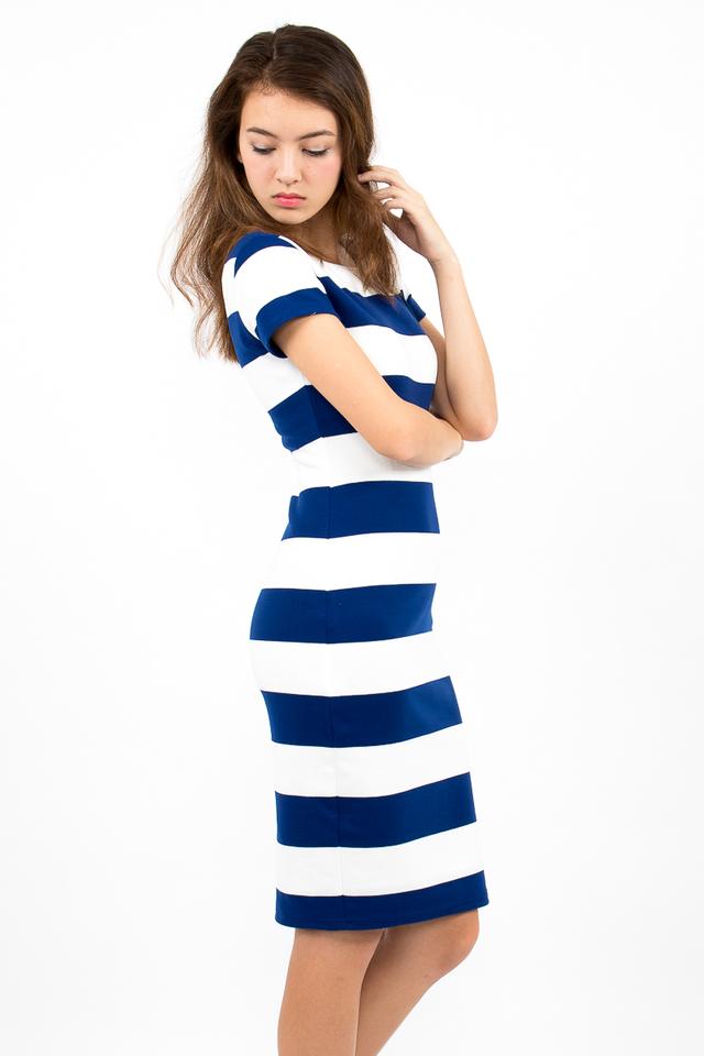 Malgosia Scoop Back Stripe Dress - White/Electric Blue