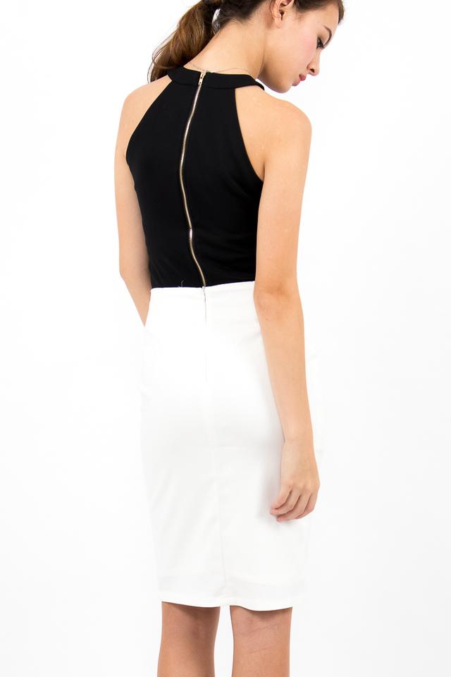 Nina Halter Zipper Top - Black