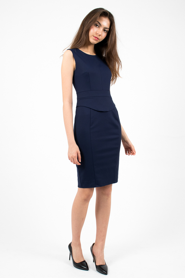 Genevieve Curve Hem Peplum Dress - Navy