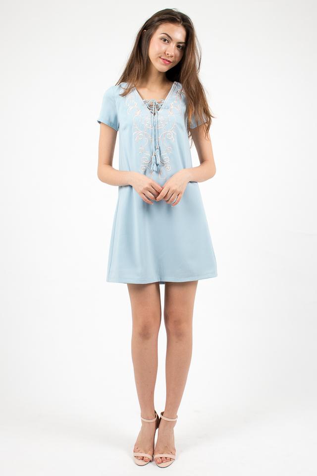 Hannah Embroidery Tee Dress - Sky Blue
