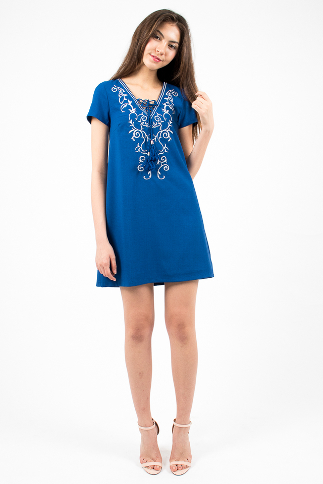 Hannah Embroidery Tee Dress - Royal Blue