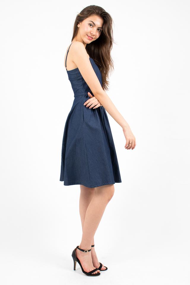 Vivienne Sweetheart Denim Dress - Dark Blue