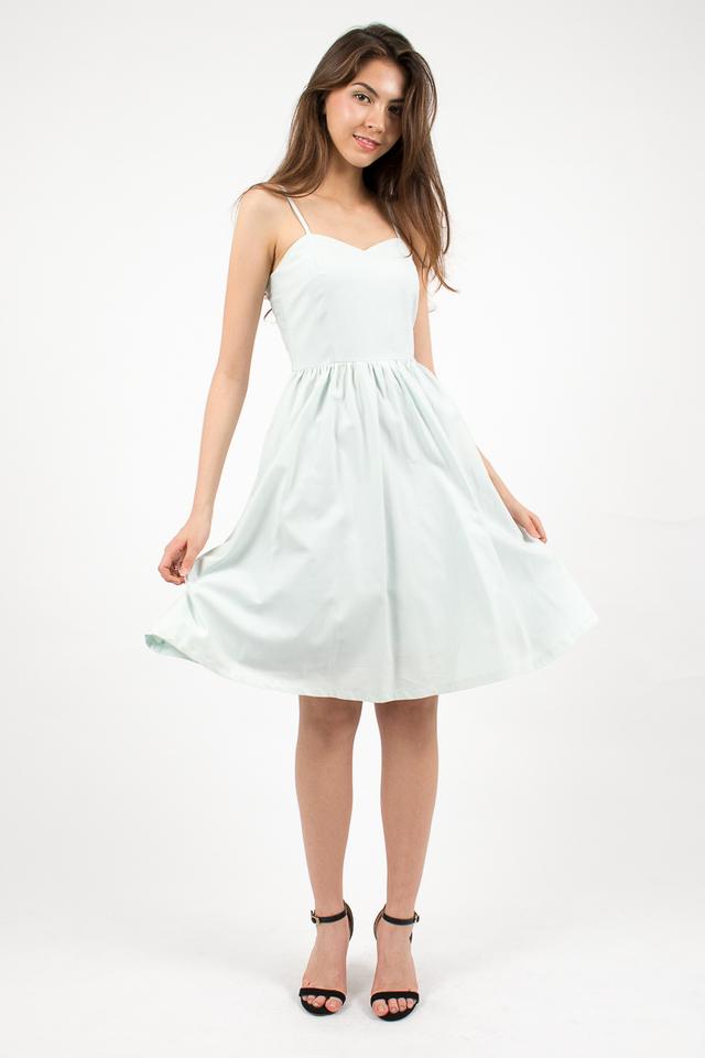Vivienne Sweetheart Denim Dress - Sky Blue