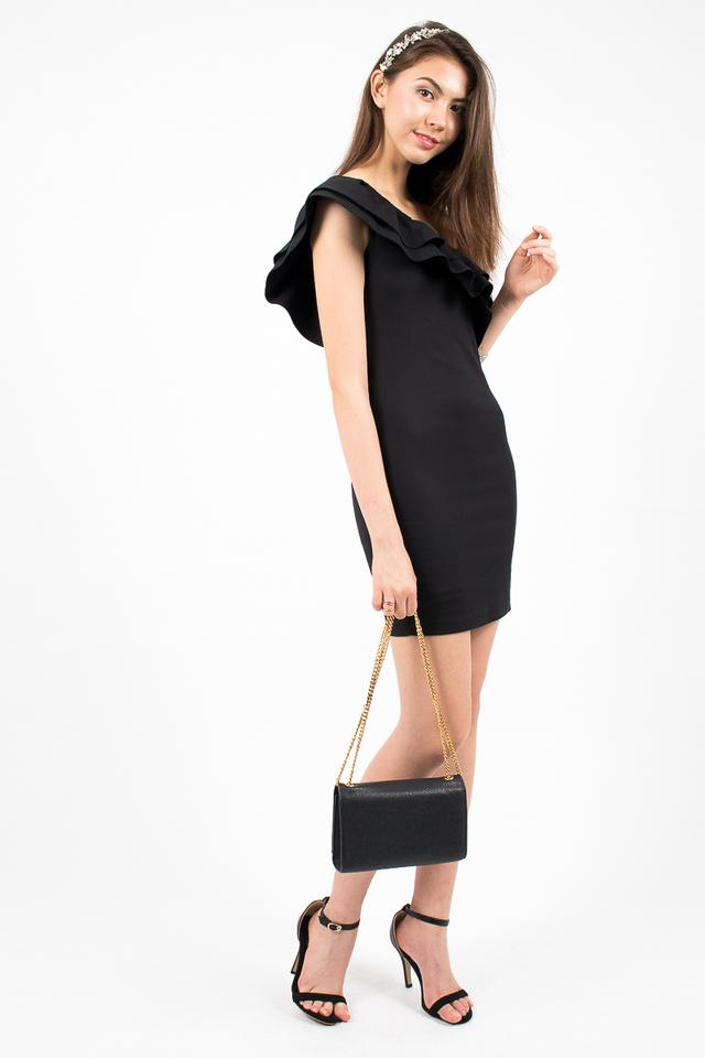 Alessandra Ruffle Toga Dress - Black